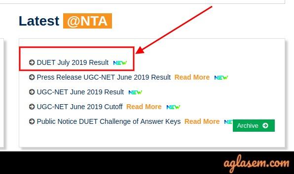 DUET July 2019 Result