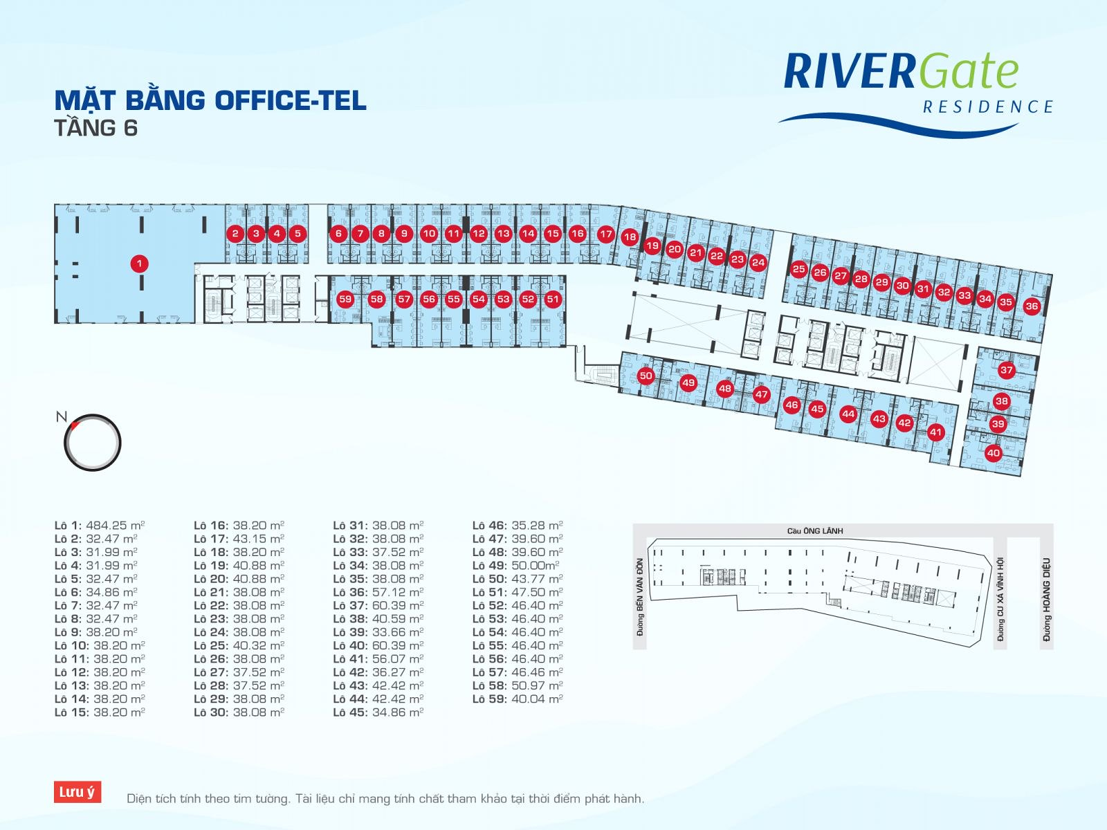 Mặt bằng OfficeTel RiverGate tầng 6