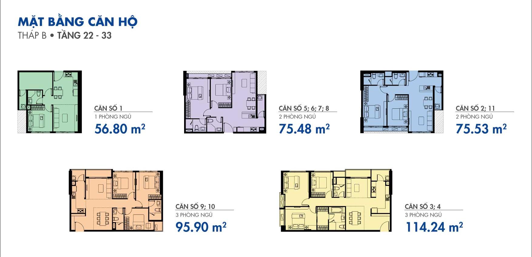 Mặt bằng căn hộ tháp B Tầng 22-33