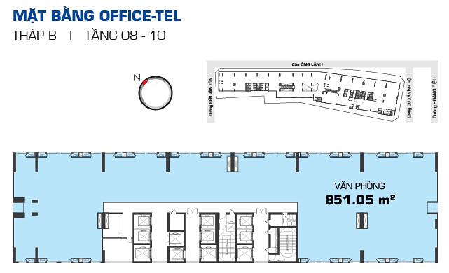 Mặt bằng OfficeTel RiverGate tháp B tầng 08-10
