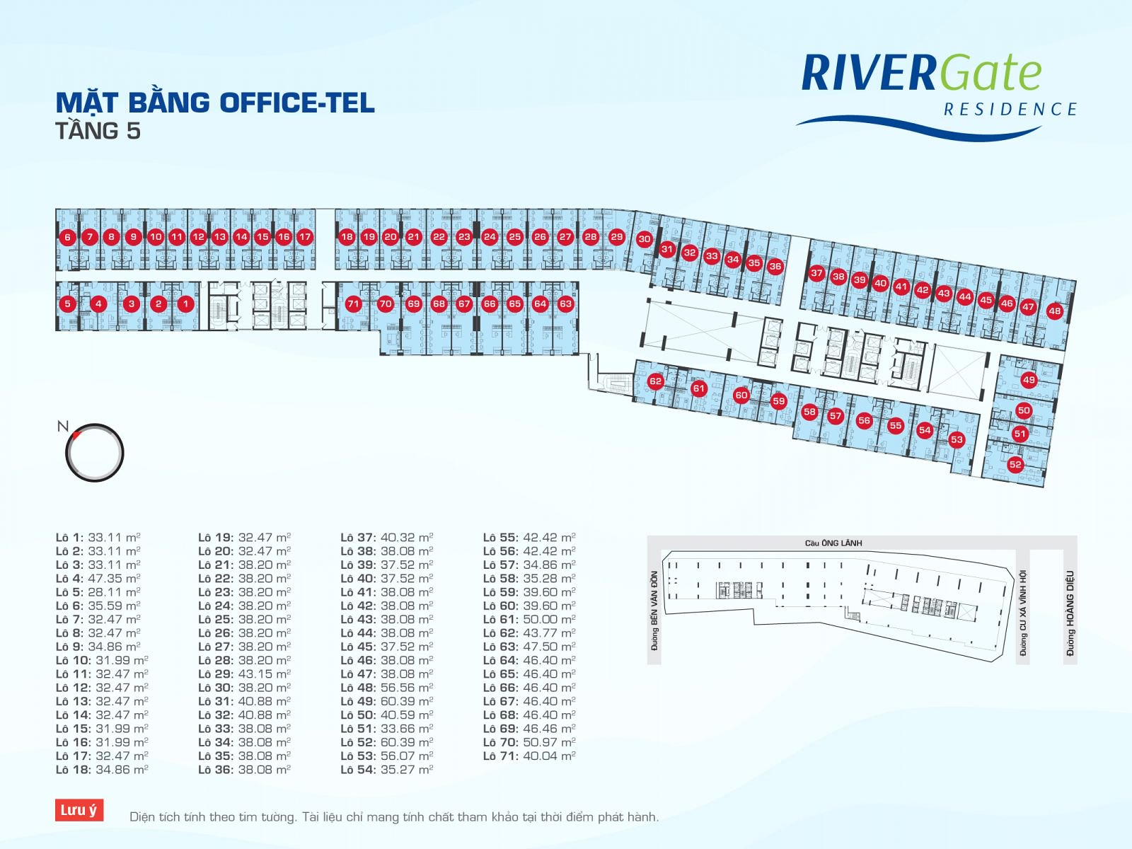 Mặt bằng OfficeTel RiverGate tầng 5