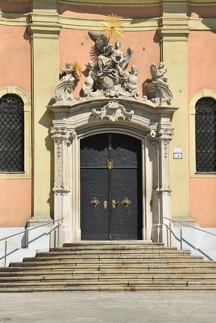 Entrance to Old Cathedral of Saint John of Matha and Saint Felix of Valois, Bratislava, Slovakia.