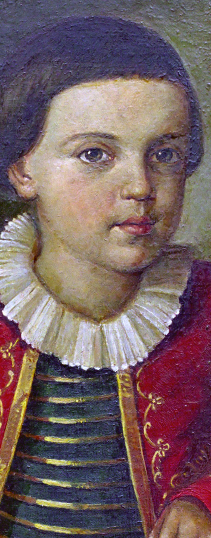 1820-22 гг. М.Ю. Лермонтов ребенком. В военном мундирчике. Портрет работы неизвестного художника. Холст. Масло