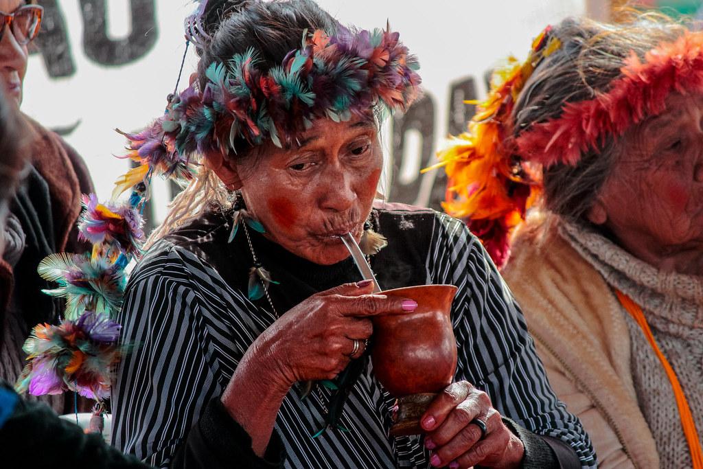 Guarani Woman drinks yerba mate