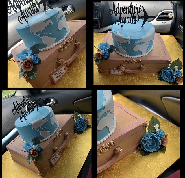 Travel-Luggage Themed Baby Shower Cake by Stephanie & Robert Ramirez of Sugar Glam Creations