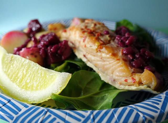 Salmon with New Potato and Beetroot Barley