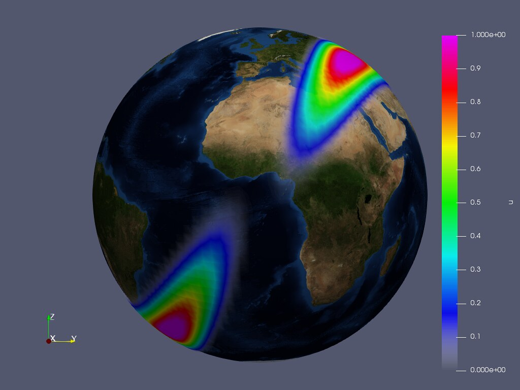 A graphic of a globe demonstrating one of Jack's weather models
