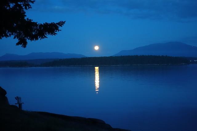Moon setting over Trincomali Channel