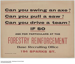 Can you swing an axe? Can you pull a saw? Can you drive a team? / « Savez-vous vous servir d'une hache? Savez-vous manier une scie? Pouvez-vous diriger une équipe? »