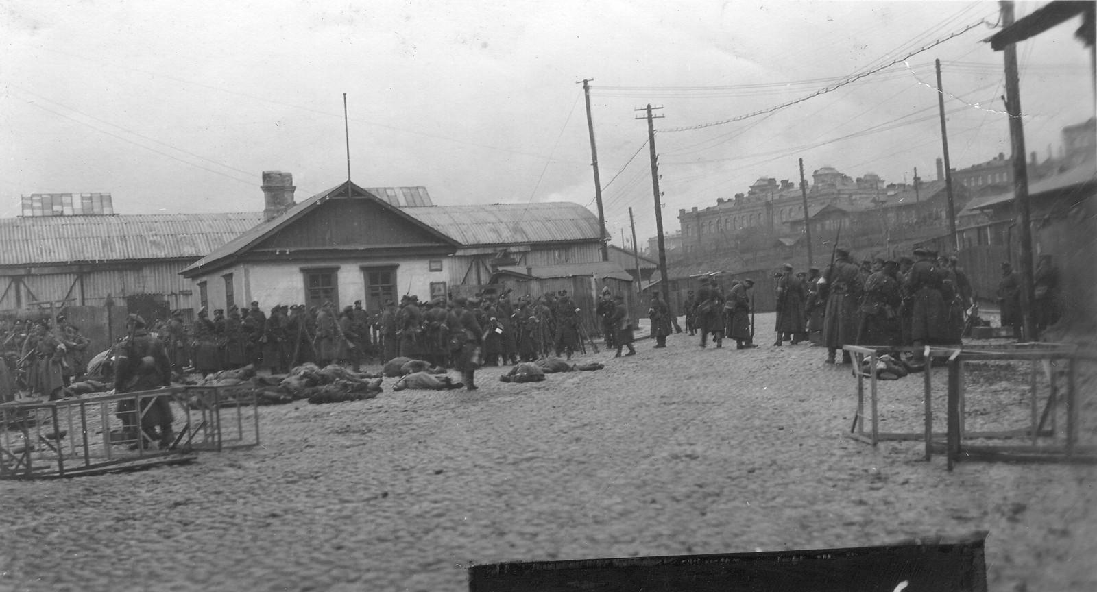Гайдовцы, уцелевшие на Нижней Портовой, бросились на территорию коммерческого порта, где были добиты юнкерами. 18.11.