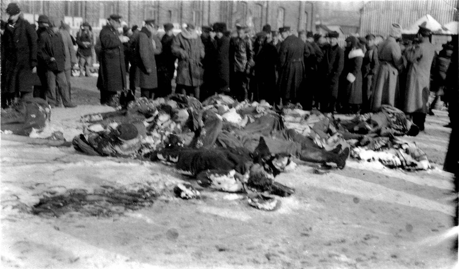 Толпа смотрит на убитых повстанцев. 18.11.