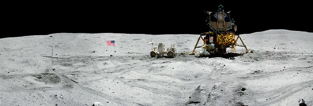 Panorama view of Apollo 16 commander Astronaut John W. Young