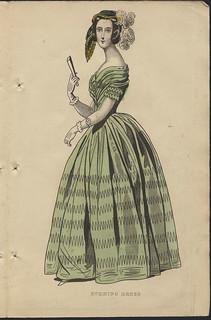 """""""Evening Dress"""" from the """"Ladies' Cabinet of Fashion, Music and Romance"""" / Robe de soirée, de la revue Ladies' Cabinet of Fashion, Music and Romance"""