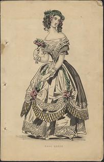 """Ball Dress"" from ""Ladies' Cabinet of Fashion, Music and Romance"" / Robe de bal, de la revue Ladies' Cabinet of Fashion, Music and Romance"