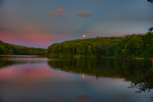brooks brooksbos fullmoon lunar moon sunset lake reflections forest clouds water apollo11 massachusetts berkshire mountains pond hdr geotagged