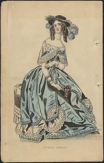 """""""Dinner Dress"""" from """"Ladies' Cabinet of Fashion, Music and Romance"""" / Robe de soirée, de la revue Ladies' Cabinet of Fashion, Music and Romance"""