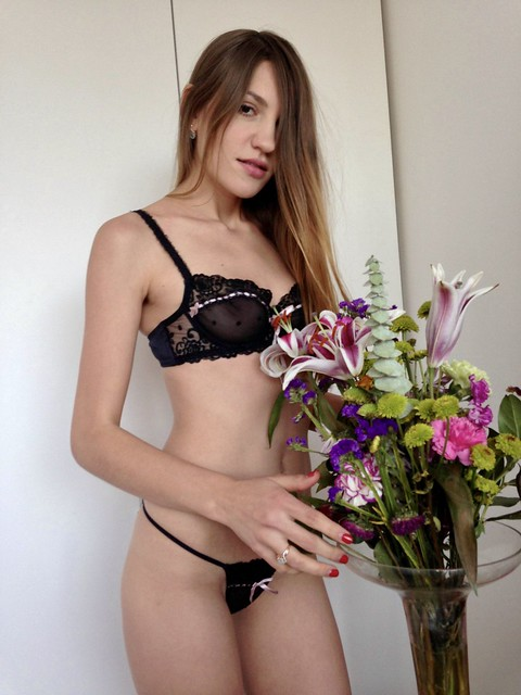 Girls, flowers, and sheer lingerie just go together!