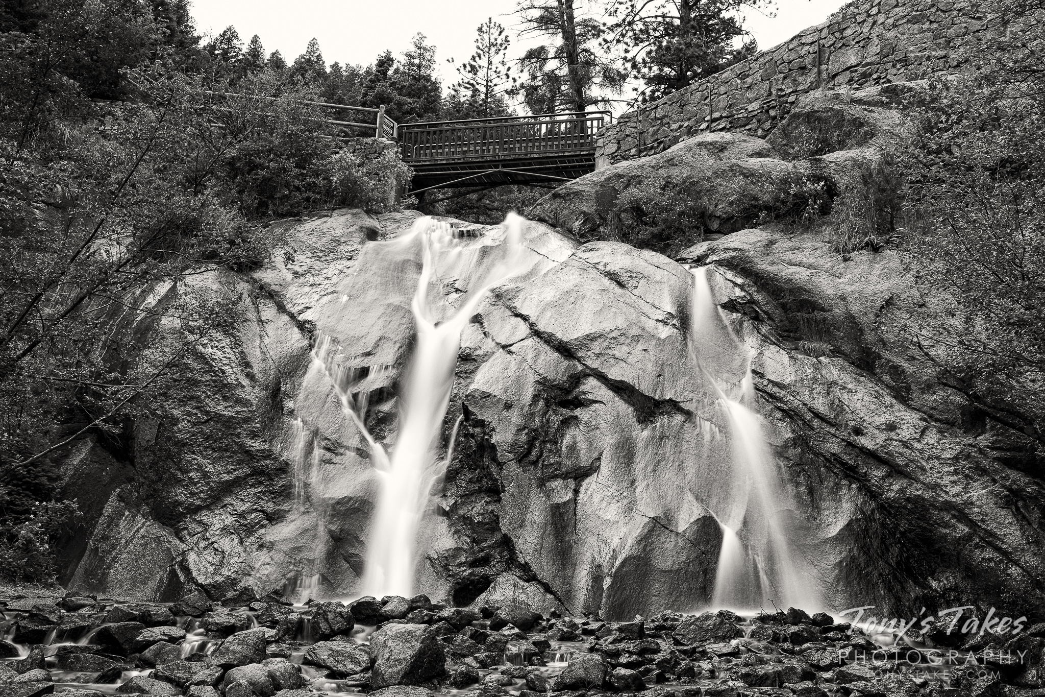 Helen Hunt Falls in black and white
