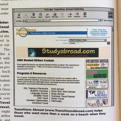 Transitions Abroad, Internet Travel Planner (2000)