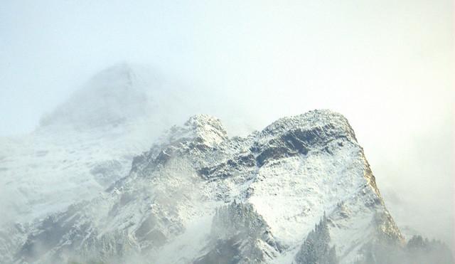 MOUNT CHEAM PEEKING THROUGH THE CLOUDS.  (NORTH CASCADES, NEAR CHILLIWACK,  BC.)