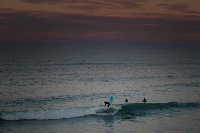 Sunset surfers New Brighton Beach