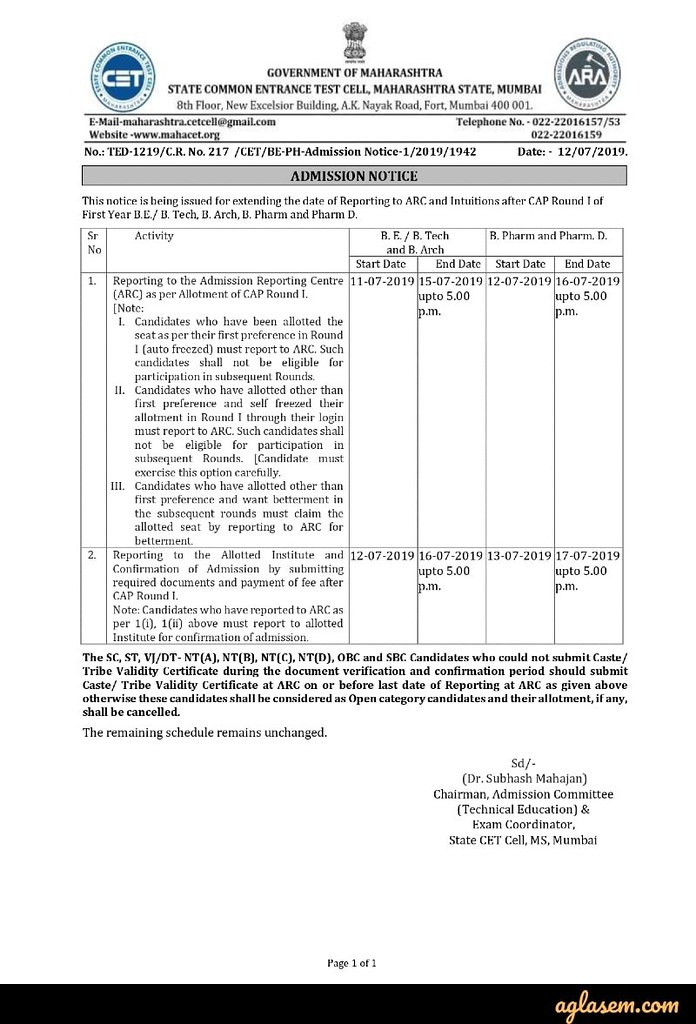 Maharashtra Engineering CAP 2019 – Round 2 Seat Allotment