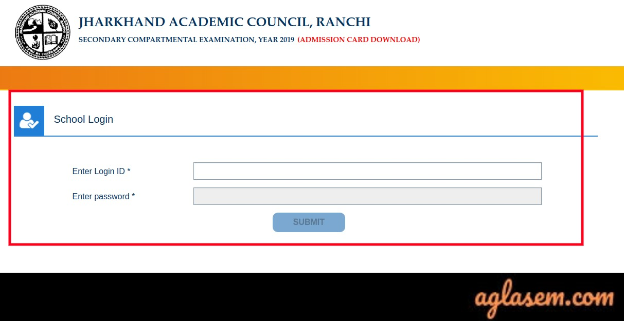 JAC 10th Compartment Admit Card 2019