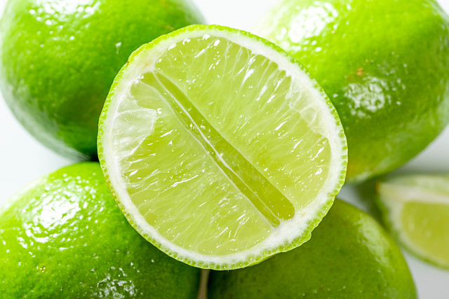 Close-up of half fresh lime