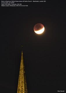 03 Moon at Maximum Partial Eclipse above All Saints Church