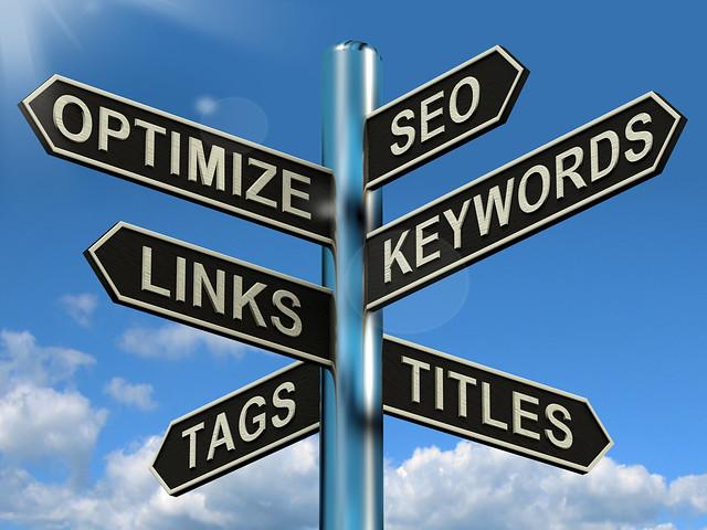 Seo Optimize Keywords Links Signpost Shows Website Marketing Optimization