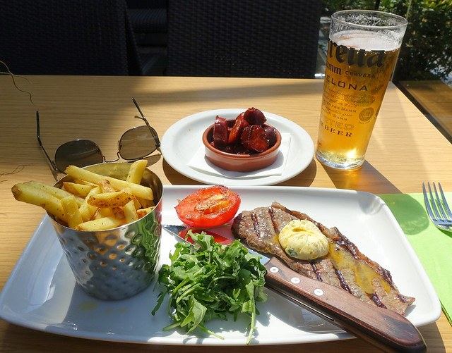 Picanha rump steak with garlic butter, grilled vine plum tomato, rocket & skin-on fries with Chorizo with Honey