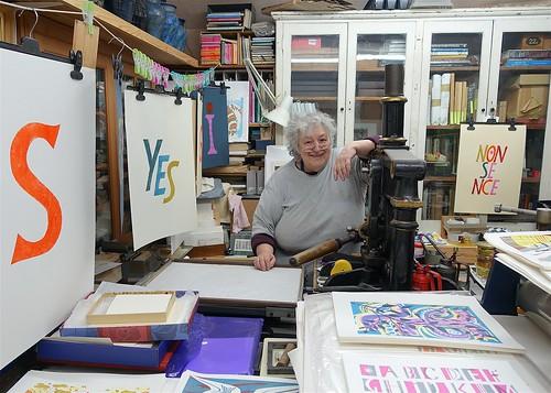 Potter & Printmaker, Deborah Hopson-Wolpe in her studio