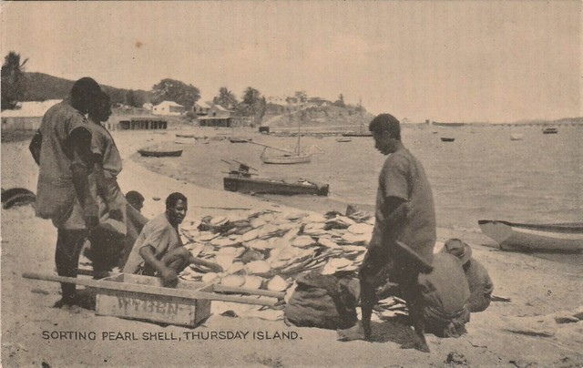 Sorting Pearl Shell on Thursday Island, Torres Strait Islands, Qld - very early 1900s
