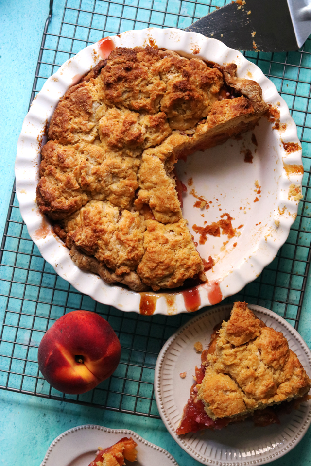 Peach Ginger Biscuit Pie