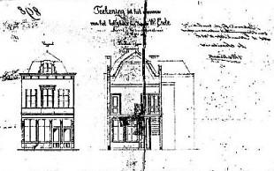Bouwtekening Korte Minrebroederstraat 4 (1865), detail [bron: Documentatie.org]