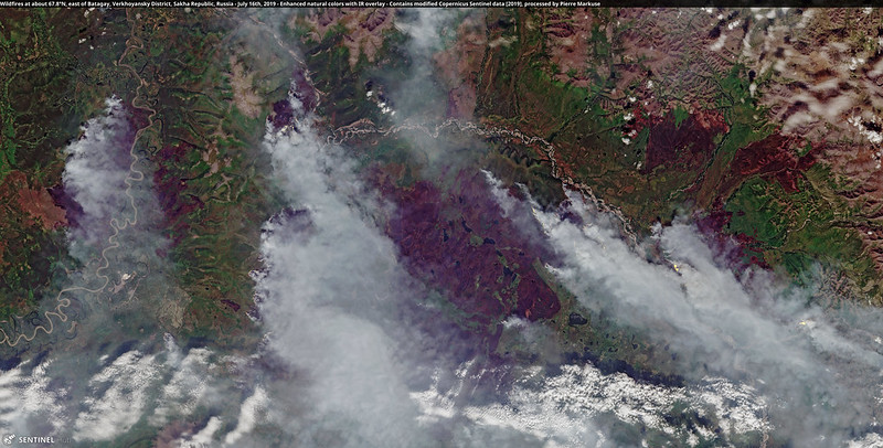 Wildfires at about 67.8°N, east of Batagay, Verkhoyansky District, Sakha Republic, Russia - July 16th, 2019