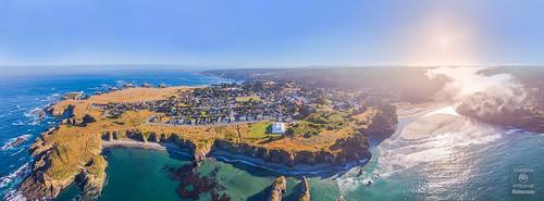 drone aerial dronephotography aerialshot panorama mendocino california coast coastal ocean pacific sunrise water beach town building buildings ca dji djimavic djimavicair