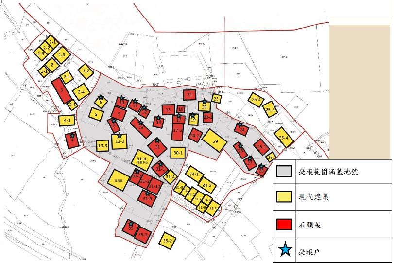 馬崗部分建築仍為石頭屋,部分則為現代建築。圖表來源:「馬崗漁村聚落」 登錄聚落建築群案公聽會簡報