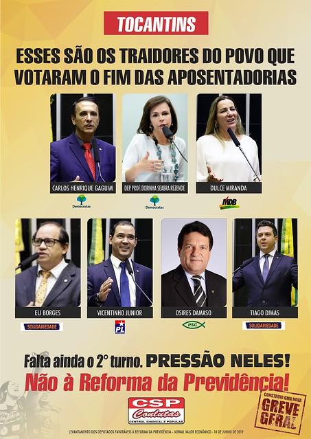 Deputados que votaram no 1° turno favoráveis a Reforma da Previdência