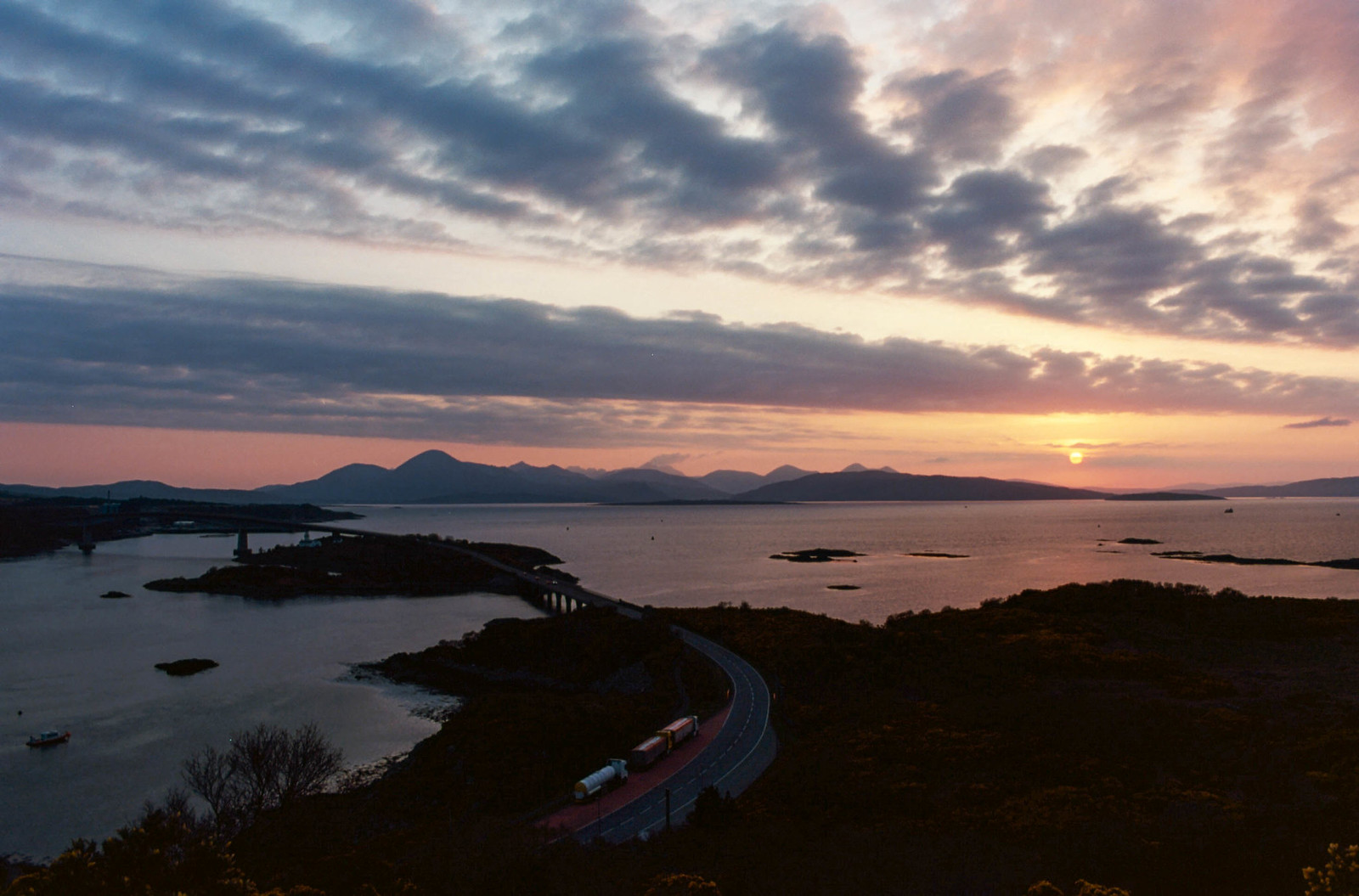 Sunset from the Plock viewpoint towards the Isle of Skye - Olympus OM10 + Kodak Ektar 100