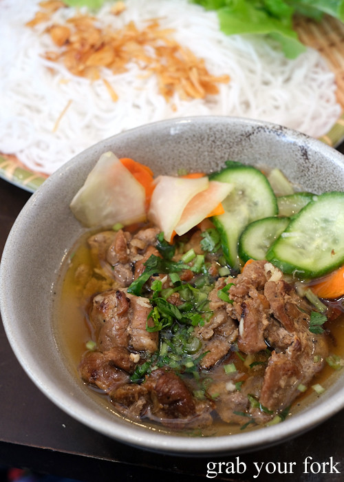 Banh cha quat grilled pork with vermicelli and salad at Banh Cuon Ba Oanh in Marrickville Sydney