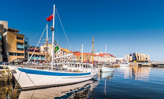 Tasmania awaits us with a clear blue sky.