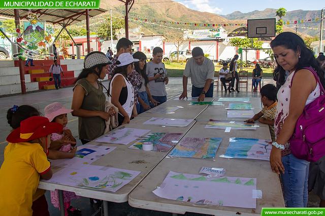 Niños de inicial y primaria participan en concurso de dibujo y pintura por aniversario de Echarati