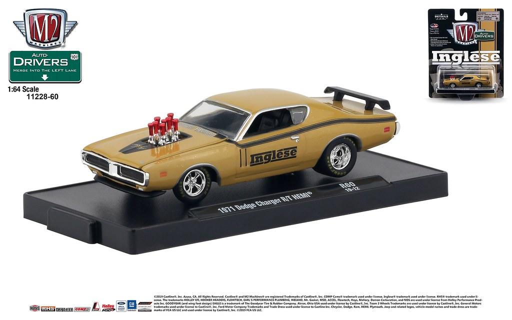 1:64 M2 Machines DRIVERS R60 *INGLESE* GOLD 1971 Dodge Charger R//T HEMI *NIP*