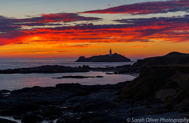 Beautiful afterglow over Godrevy Lighthouse