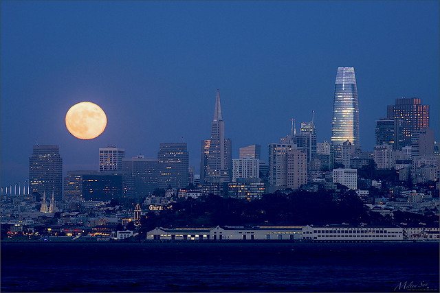 Rising Full Moon Lit Up the Skyline