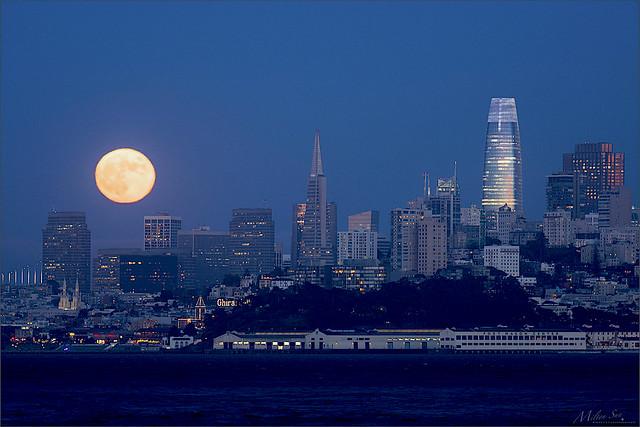 Rising Full Moon Lit Up the Skyline