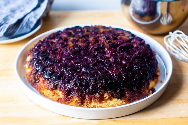 cherry cornmeal upside-down cake