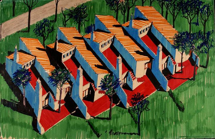 Prespectiva das casas da Aldeia das Açoteias (Victor Palla, Bento d' Almeida, c. 1968)