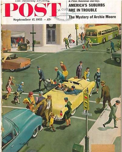 "Thornton Utz cover, ""Blocking the Crosswalk,"" Saturday Evening Post Magazine, September 17, 1955"